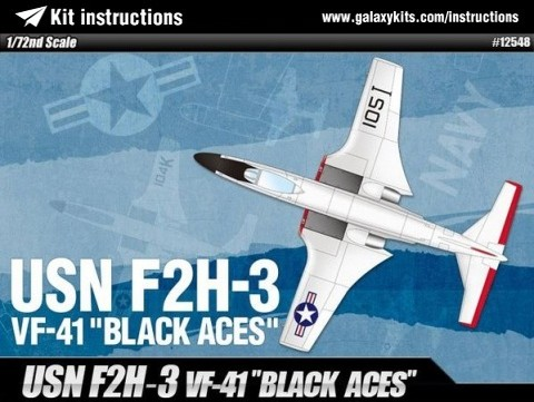 Box cover for Academy USN F2H-3 VF-41 'Black Aces' in 1:72 scale