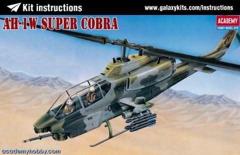 Box cover for Academy ah 1 w super cobra in 1:35 scale