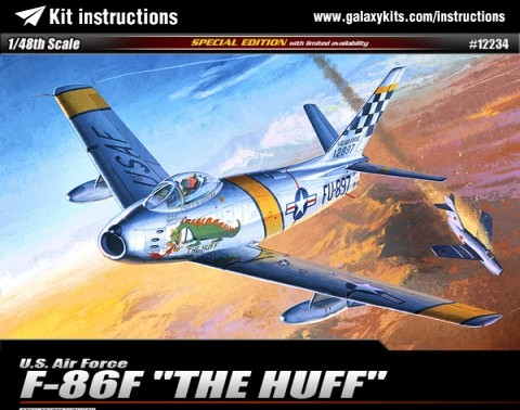 "Box cover for Academy U.S. Air Force F-86F ""THE HUFF"" in 1:48 scale"