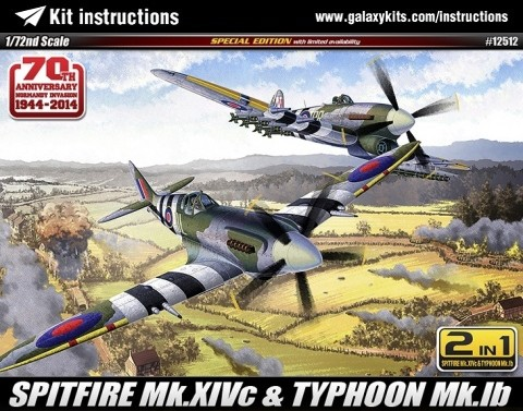 "Box cover for Academy Spitfire Mk.XIVc & Hawker Typhoon Ib ""70th Anniversary Normandy Invasion 1944-2014"" in 1:72 scale"