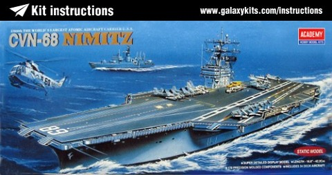 Box cover for Academy CVN-68 USS NIMITZ in 1:800 scale