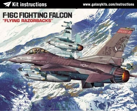 "Box cover for Academy F-16 C Fighting Falcon ""Flying Razorbacks"" in 1:48 scale"
