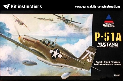 Box cover for Accurate Miniatures P-51A Mustang in 1:48 scale