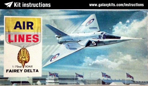 Box cover for Air Lines Fairey Delta in 1:72 scale