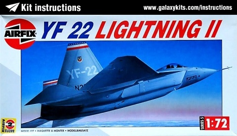 Box cover for Airfix YF-22 lightning II in 1:72 scale