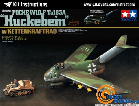 Box cover for AMtech Ta183A Huckebein w/KETTENKRAFTRAD in 1:48 scale