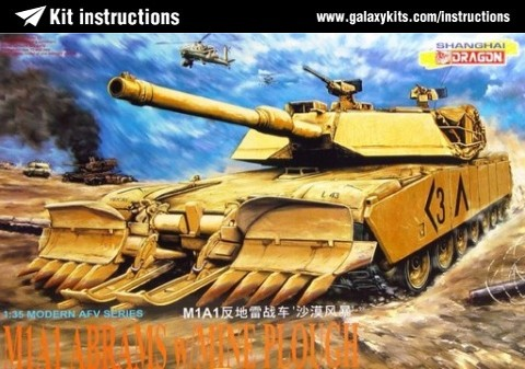 Modern AFV Series Dragon 3516 Panzer 1:35 M1A1 w//Mine Plough /'Desert Storm/'