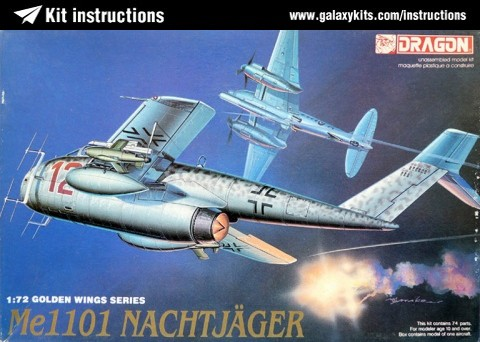 Box cover for Dragon Messerschmitt Me 1101 Nachtjäger in 1:72 scale