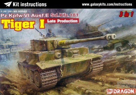 Box cover for Dragon Pz.Kpfw. VI Tiger I Ausf. E Sd.Kfz. 181 late production (3 in 1) in 1:35 scale