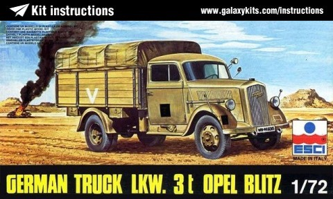 Box cover for ESCI German Truck LKW. 3t Opel Blitz in 1:72 scale