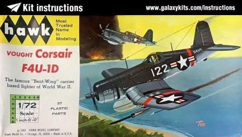 Box cover for Hawk Vought Corsair F4u-1d in 1:72 scale