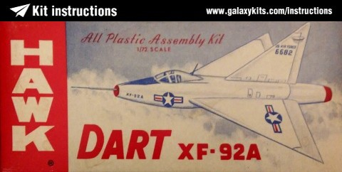 Box cover for Hawk Convair Xf-92a Dart in 1:72 scale