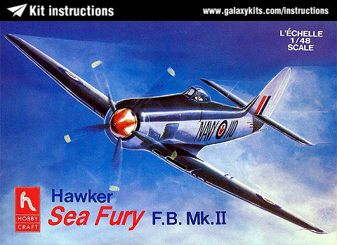 Box cover for Hobbycraft Hawker Sea Fury FB Mk II in 1:48 scale