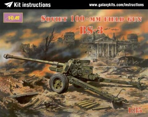Box cover for ICM Soviet 100-mm Field Gun BS-3 in 1:35 scale