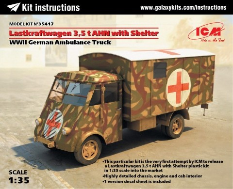 Box cover for ICM Lastkraftwagen 3.5t ANH with Shelter WWII German Ambulance in 1:35 scale