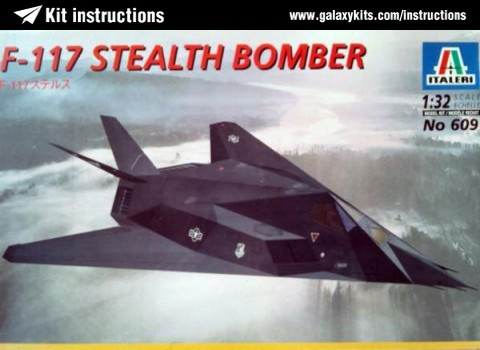 Box cover for Italeri F-117 Stealth Bomber in 1:32 scale