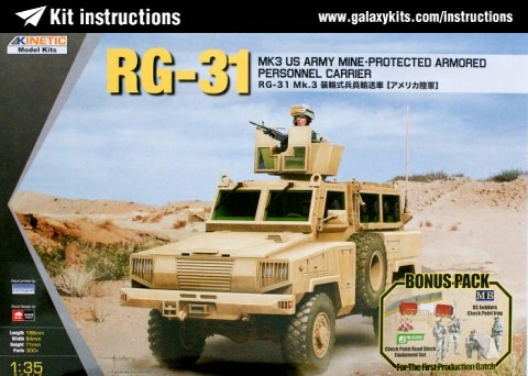 Box cover for Kinetic RG-31 Mk.3 US Army Mine-protected Armored Personal Carrier in 1:35 scale