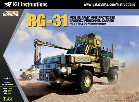 Box cover for Kinetic RG-31 Mk.5 US Army Mine-protected Armored Personal Carrier in 1:35 scale