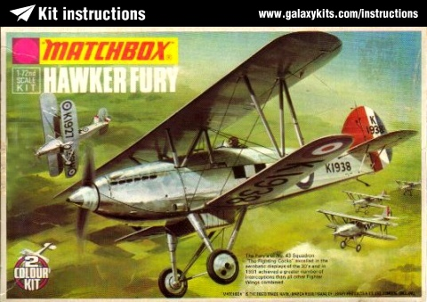 Box cover for Matchbox Hawker Fury in 1:72 scale
