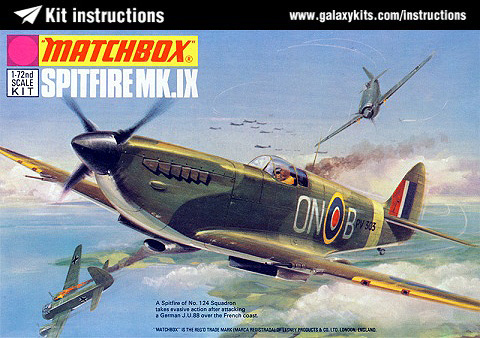 Box cover for Matchbox Spitfire Mk. IX in 1:72 scale