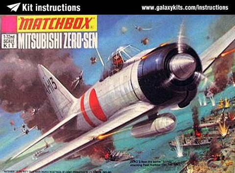 Box cover for Matchbox Mitsubishi Zero-Sen in 1:72 scale
