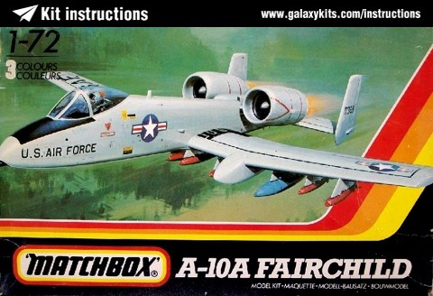 Box cover for Matchbox A-10A Fairchild in 1:72 scale