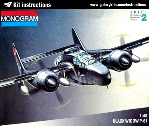 Box cover for Monogram Black Widow P-61 in 1:48 scale