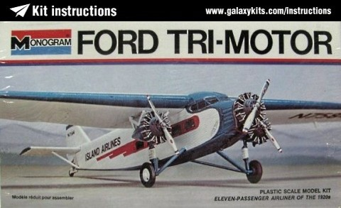 Box cover for Monogram Ford Trimotor in 1:77 scale