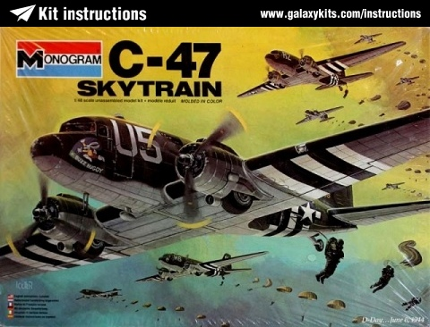 Box cover for Monogram C-47 Skytrain in 1:48 scale