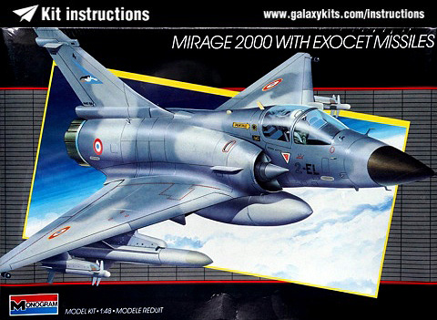 Box cover for Monogram Mirage 2000 w/ Exocet Missiles in 1:48 scale