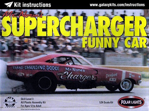 Box cover for Polar lights Mr. Norm's Supercharger Funny Car in 1:25 scale