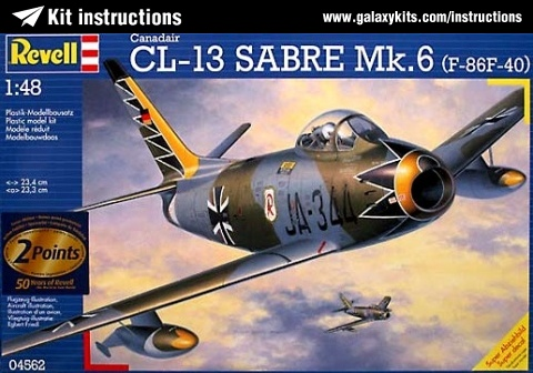 Box cover for Revell Canadair CL-13 Sabre Mk6 (F-86F-40) in 1:48 scale