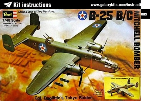 Box cover for Revell B-25 BC MITCHELL BOMBER Col Doolittles Tokyo Raider  in 1:48 scale