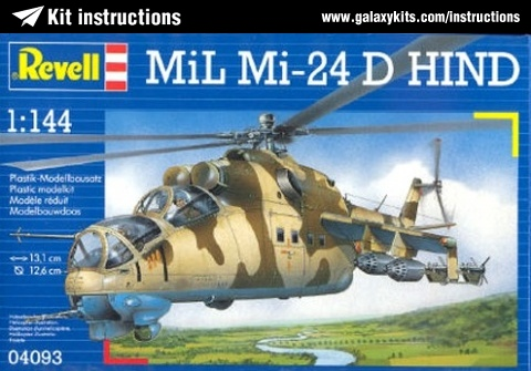 Box cover for Revell Mil Mi-24 D HIND in 1:144 scale