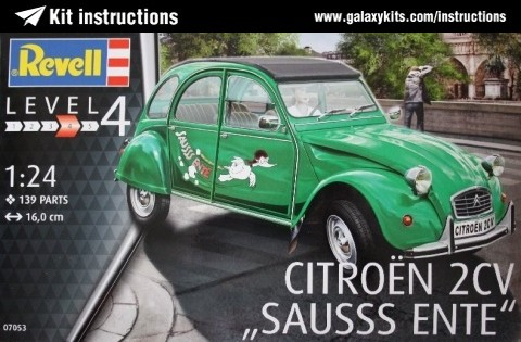 "Box cover for REVELL Citroën 2CV ""Sausss Ente"" in 1:24 scale"