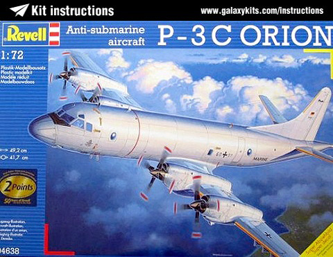 Box cover for Revell Anti-submarine aircraft P-3 C Orion in 1:72 scale