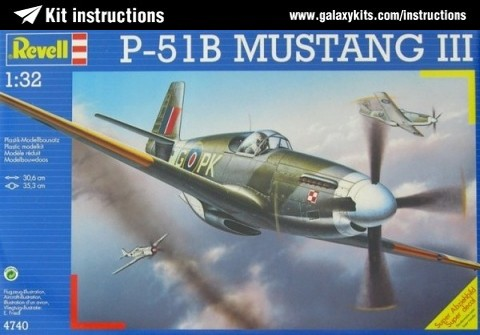 Box cover for REVELL P-51B Mustang III in 1:32 scale