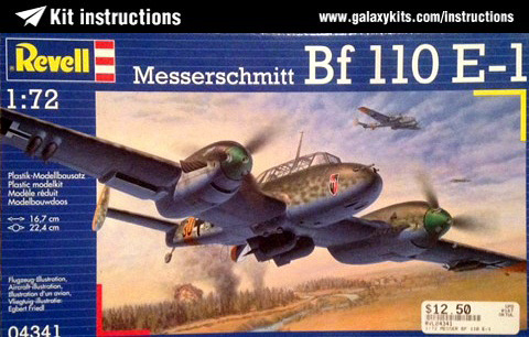 Box cover for REVELL Bf 110 E-1 in 1:72 scale