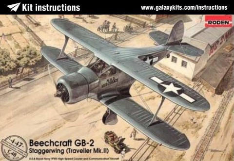 Box cover for Roden Beechcraft GB-2 Staggerwing (Traveller Mk.II) in 1:48 scale