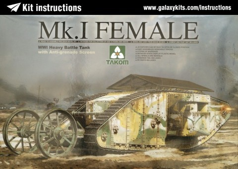 Box cover for Takom WWI Heavy Battle Tank Mk.I Female with Anti-grenade screen in 1:35 scale