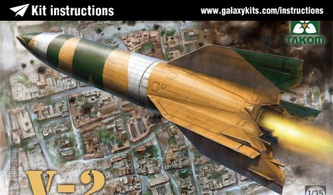 Box cover for Takom V-2 WWII German Single Stage Ballistic Missile in 1:35 scale