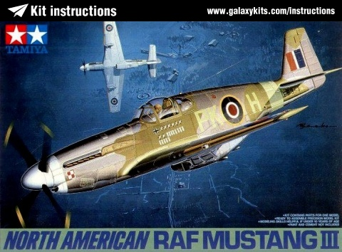Box cover for Tamiya RAF North American Mustang III in 1:48 scale