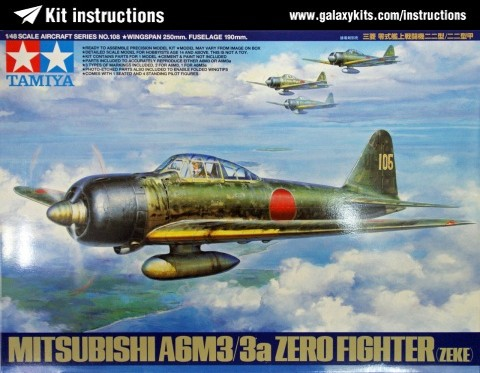 Box cover for Tamiya Mitsubishi A6M3/3a Zero Fighter (ZEKE) in 1:48 scale