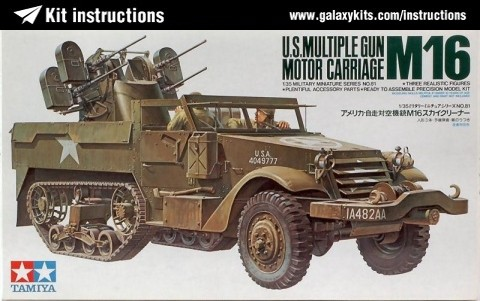 Box cover for Tamiya U.S. Multiple Gun Motor Carriage M16 in 1:35 scale