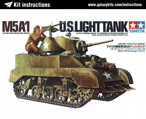 Box cover for Tamiya M5A1 U.S. Light Tank in 1:35 scale