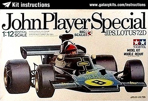 Box cover for Tamiya John Player Special Lotus 72D in 1:12 scale