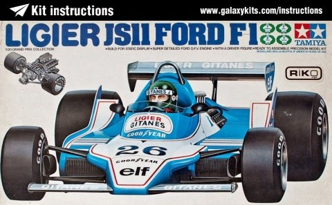 Box cover for Tamiya Ligier JS11 Ford F-1 in 1:20 scale
