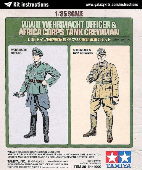 Box cover for Tamiya Wehrmacht Officer & Tank Crewman in 1:35 scale