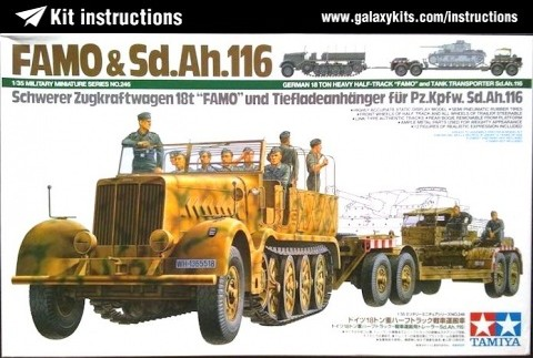 "Box cover for Tamiya German 18 Ton Heavy Half-Track ""Famo"" and Tank Transporter Sd.Ah.116 in 1:35 scale"