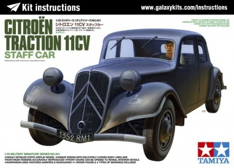 Box cover for Tamiya Citroen Traction 11CV Staff Car in 1:35 scale